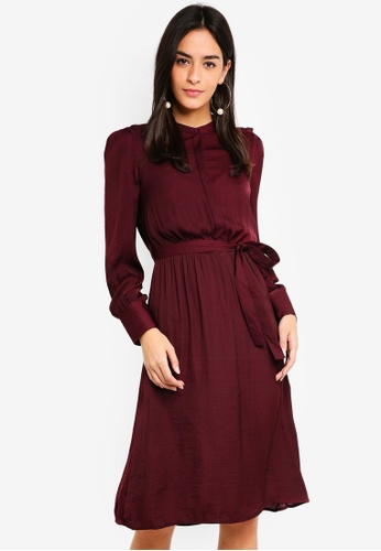 Vero Moda red Waist Belted Long Sleeve Dress ABBA5AA186775AGS_1