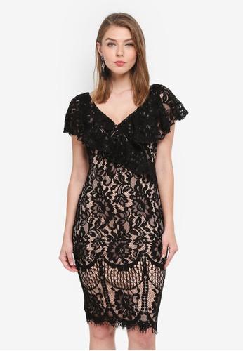 Goddiva black Lace Mini Dress With Frilled V Neckline 3C165AA9F1936FGS_1