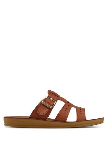 Noveni brown Tristrap Sandals 85143SHA9FBAE2GS_1