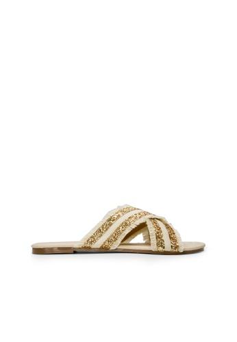 SEMBONIA beige Women Textile Flat Sandal 797E6SHA8EF828GS_1
