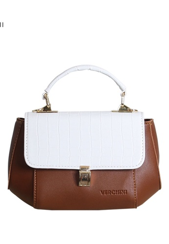 Verchini brown Verchini Stone-Embellished Geometric Bag FFAEEAC11B21A9GS_1