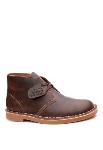 Twenty Eight Shoes 褐色 男裝真皮高桶皮靴 MC1407023 3E03DSHE2F2374GS_1