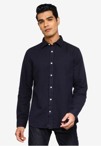 Banana Republic black Long Sleeves Linen Shirt FF4A8AAC5F4A81GS_1