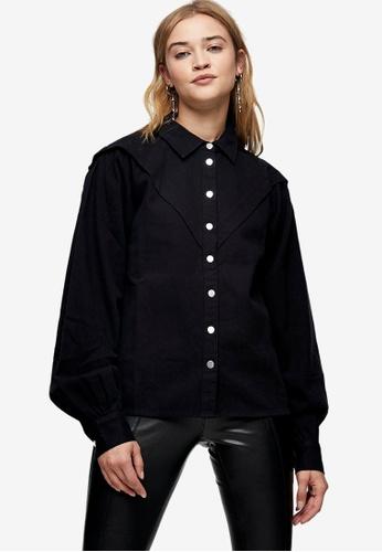 TOPSHOP black Black Casual Western Shirt F4C87AAEB03682GS_1