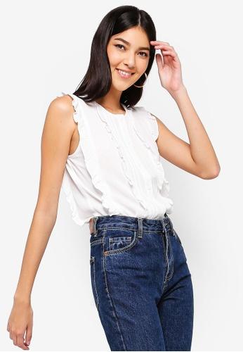 ZALORA white Ruffled Button Down Shirt B2314AA9875AADGS_1