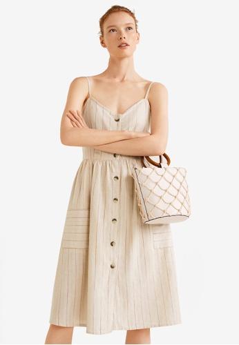 Mango beige Striped Cotton Dress 238C1AA007EE23GS_1