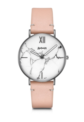 Axis black and white and pink AXIS -  Real Marble Face,Genuine Leather Quartz Watch 588A6AC582C2B3GS_1