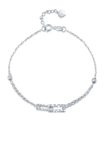 MaBelle silver 14K 585 White Gold Diamond Cut Interlock Square Double Chain Bracelet DA8FEAC6ECA195GS_1