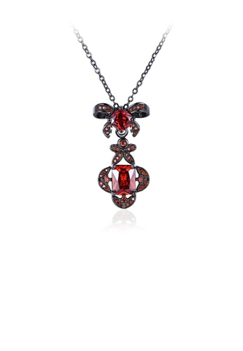 Glamorousky red Fashion Elegant Bow Flower Pendant with Red Cubic Zircon and Necklace F9531ACD058C1DGS_1