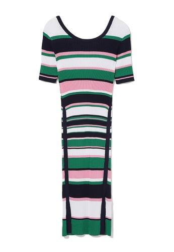 b+ab green Panelled stripe knit dress 9D109AAE5B65A7GS_1