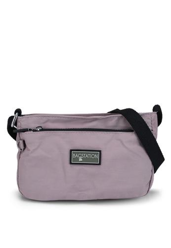 Bagstationz purple Contrast Zip Nylon Mini Sling Bag 2DD48AC08A43B9GS_1