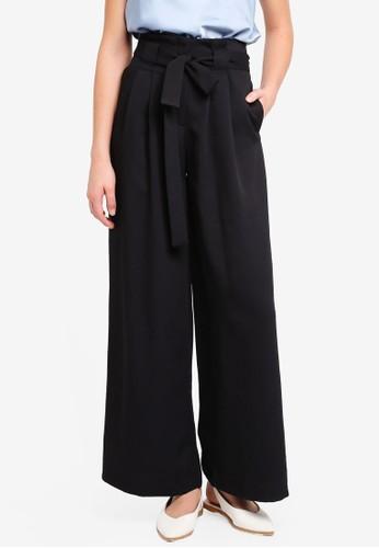 River Island black Cici Belted Wide Leg Trousers E9957AA8622C0CGS_1