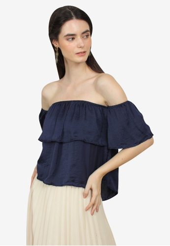 Caoros navy Layered Off Shoulder Top 1B1A1AA69AB2D0GS_1