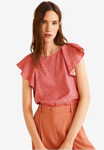 Mango pink Ruffled Sleeve Blouse 20DF5AA53E39EDGS_1