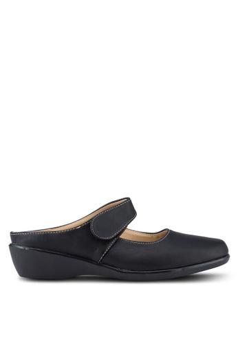 Noveni 黑色 懶人楔型鞋 NO978SH88RETMY_1