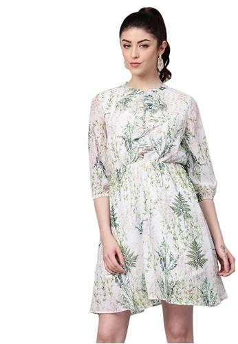 SASSAFRAS white Off-White Floral Skater Dress 9B448AA846DC81GS_1