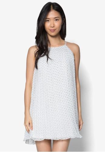 褶藝挖背zalora taiwan 時尚購物網連身裙, 服飾, 服飾