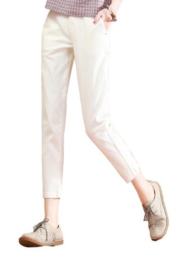 A-IN GIRLS white Elastic Waist Wild Casual Pants DF3E2AA6655495GS_1