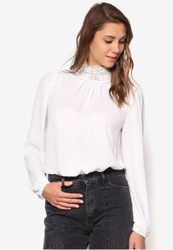 蕾絲高領長袖衫,esprit 內衣 服飾, 上衣