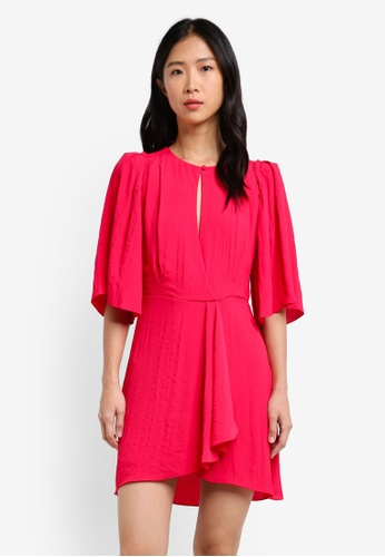 Mango red Flared Sleeves Dress MA193AA0RXQXMY_1