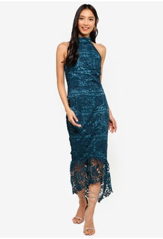 f474cbac8170 MISSGUIDED blue High Neck Lace Midi Dress A94C4AAD40E4BFGS 1