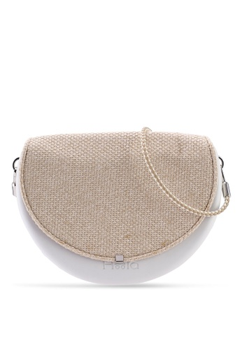 Hoola Hoola white Chiara Saddle - Eggshell White Woven with Champagne & Ice strap 94213ACA42010CGS_1