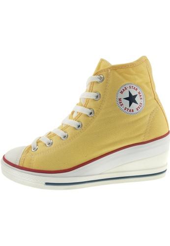 Maxstar 黃色 新款韩国鞋7H-Zip時尚帆布布混合女黃色 US Women Size MA345SH34GRXTW_1