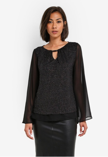Dorothy Perkins black Black Kimono Glitter Top DO816AA0SB5RMY_1