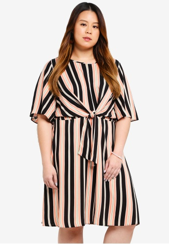 Dorothy Perkins pink Plus Size Pink Stripe Manipulated Dress 2A8A6AA07DEBAFGS_1