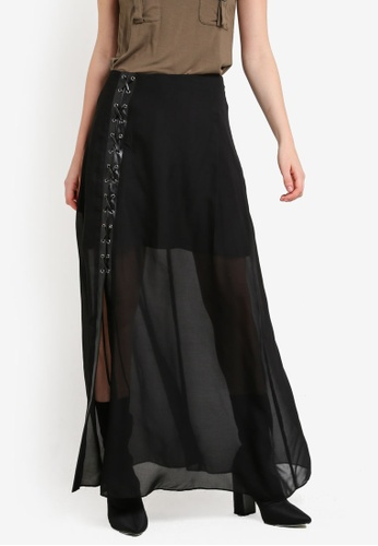 Something Borrowed black Lace-Up Detail Maxi Skirt 988A6AA14F14A5GS_1