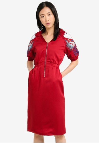 Megane red Red Romance Hedvige Embroided Sequin Zipper Dress BD364AA57A675EGS_1