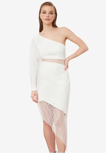 Trendyol white Lace Waist Detail Dress 8E1AAAA300F526GS_1