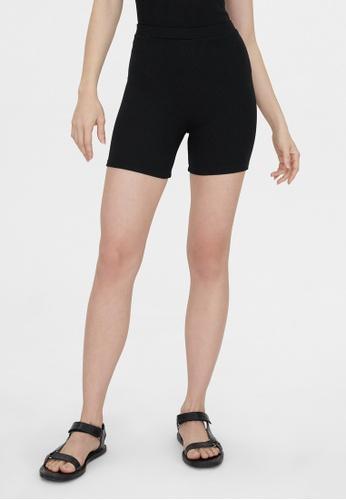 Pomelo black Ribbed Biker Shorts - Black D6D1EAA0BB4A4BGS_1