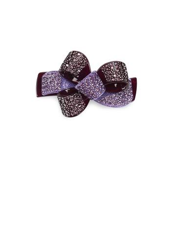 Glamorousky purple Fashion Bright Purple Ribbon Hair Slide with Cubic Zirconia F2A26AC51393F5GS_1