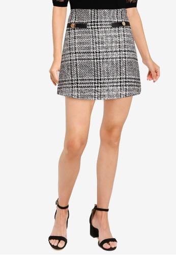 Miss Selfridge black Petite Monochrome Boucle Skirt 948F9AAE074E4CGS_1