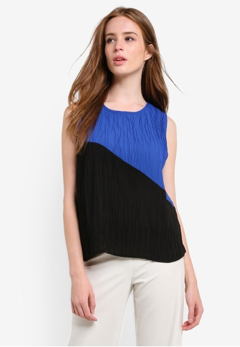 Megane black and blue Jacey Pleated Color Block Top ME617AA0REKEMY_1