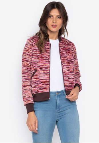 Courier red Printed Lace Ladies Bomber Jacket EFB3CAAD32582DGS_1