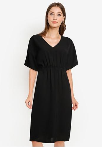 ZALORA WORK black Kimono Sleeve Tab Dress 71AFFAAEC073CAGS_1