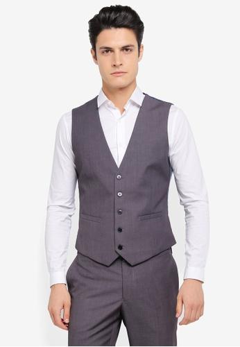 Burton Menswear London grey Slim Grey Essential Waistcoat BU964AA0SR8LMY_1