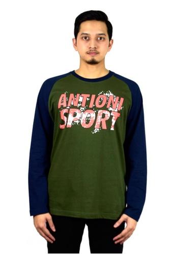Antioni ANTIONI Men Round Neck Tee L/S (DK. GREEN) 66C3AAA62B402DGS_1