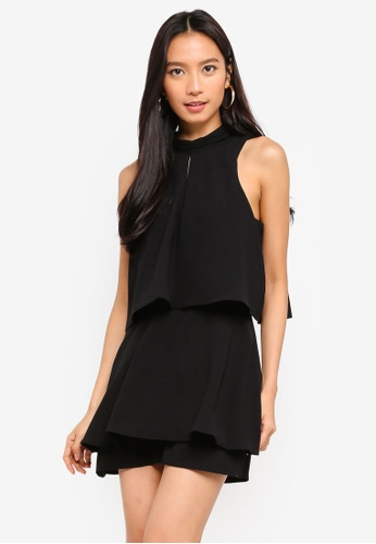 River Island black High Neck Tiered Frill Playsuit D02B4AA06215AEGS_1