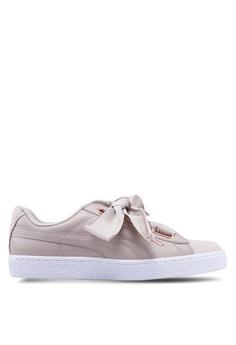 b9fd0c281a7c PUMA grey Basket Heart Woven Rose Women s Sneakers 85BFCSHF1E7E54GS 1
