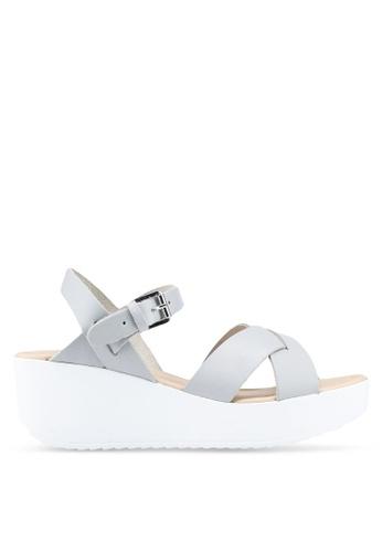 Miss KG grey Leather wedges sandals 612ECSH52676E4GS_1