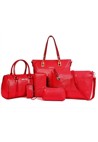 LULUGIFT red Luxury Glamour Artificial Crocodile Leather Bag 6n1 Set Red LU989AC60XJNMY_1