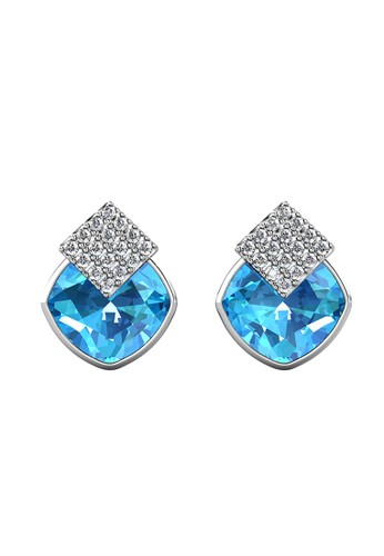 Her Jewellery blue and silver Diamond Lucid Earring Blue WG - Anting Crystal Swarovski by Her Jewellery 7E513AC4E12FE7GS_1