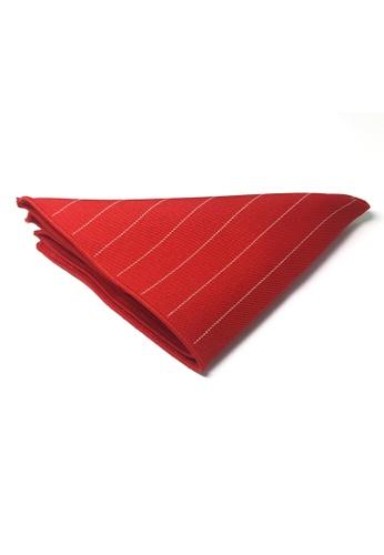 Splice Cufflinks red Bars Series Thin White Stripes Bright Red Cotton Pocket Square   SP744AC77DLASG_1