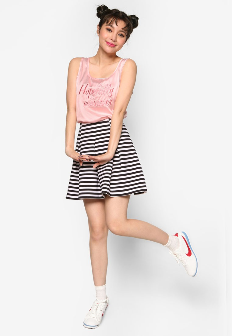 K Style Lettering Accent Sleeveless Top