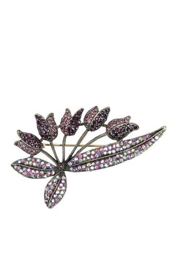 Red's Revenge purple Floral Bunch Diamante Brooch B46E7AC600D11CGS_1