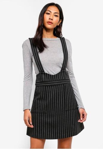 Hopeshow black Striped Suspender Skirt FC13BAA3A8E675GS_1