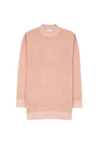 KLAPS pink Round Neck Openwork Knitted Dress 528C0AAF986910GS_1